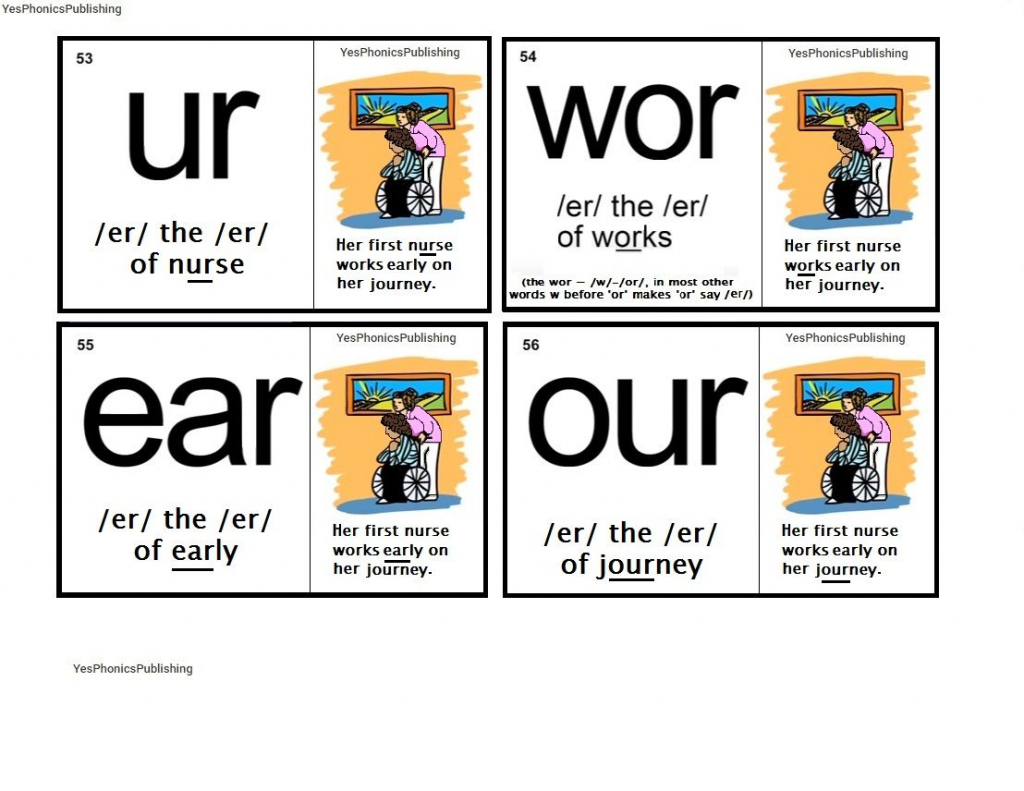 Orton-Spalding Phonograms - Illustrated Flash Cards - 'ur', 'wor | Spalding Phonogram Cards Printable