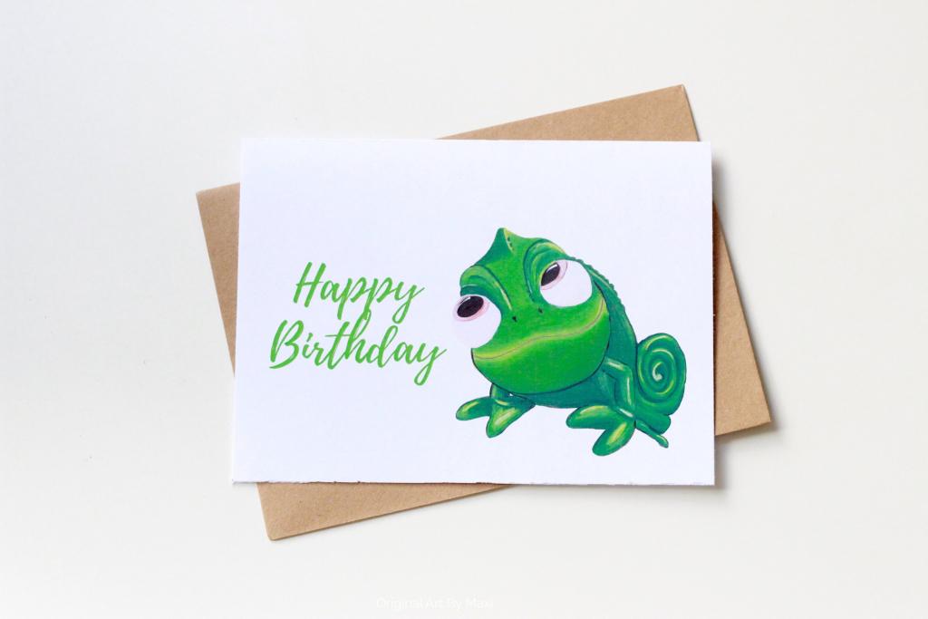 Pascal Birthday Card Disney Tangled Printable Painted Cards   Etsy   Printable Rapunzel Birthday Card