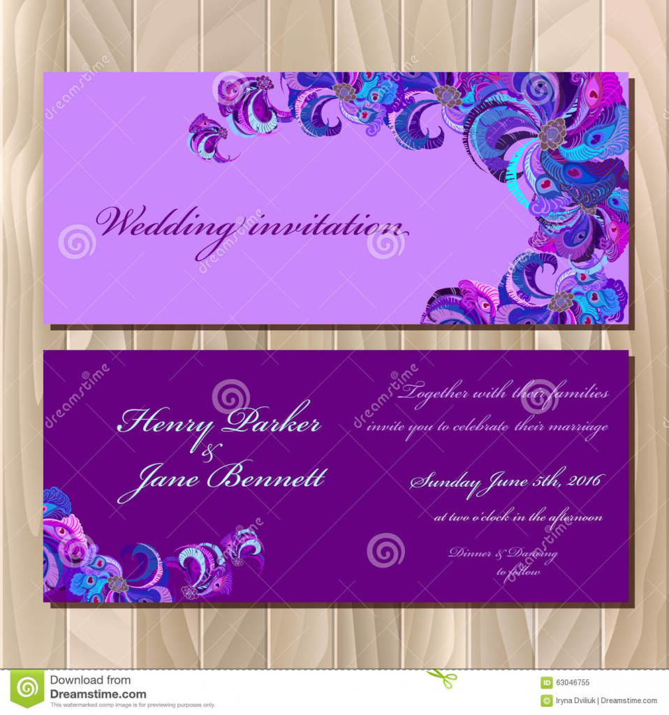 Peacock Feathers Wedding Invitation Card. Printable Vector | Printable Invitation Card Stock