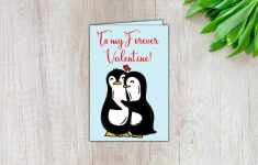 Penguin Valentine Card Digital Valentine Card Printable | Etsy | Printable Penguin Valentine Cards