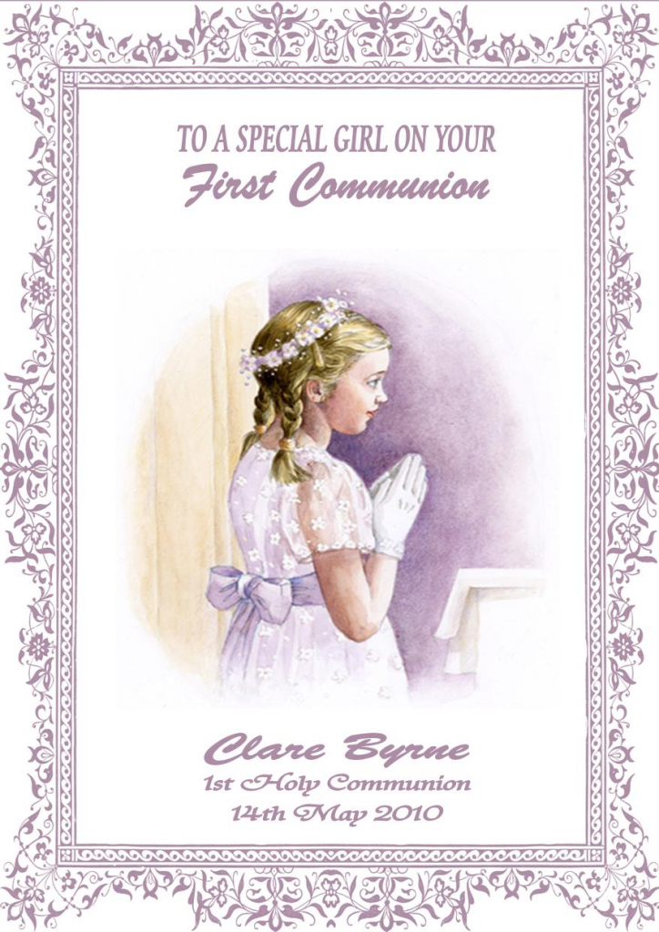 Personalised Girl Communion Card Design 2 | First Holy Communion Cards Printable Free