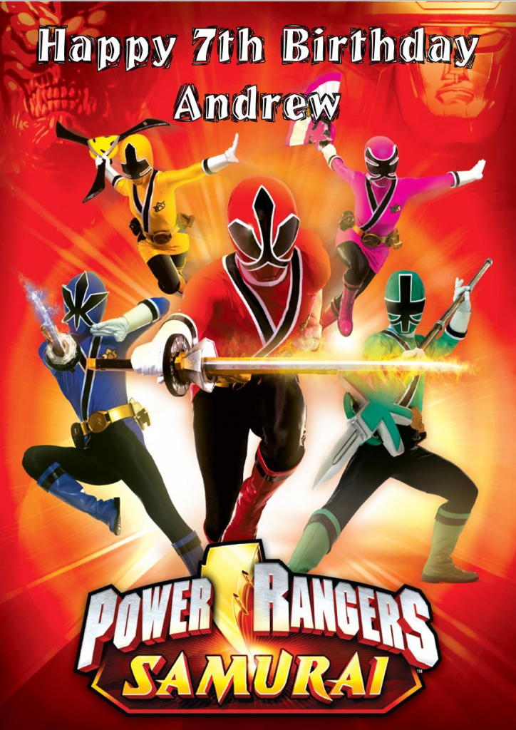Personalised Power Rangers Birthday Card | Power Rangers Birthday Card Printable