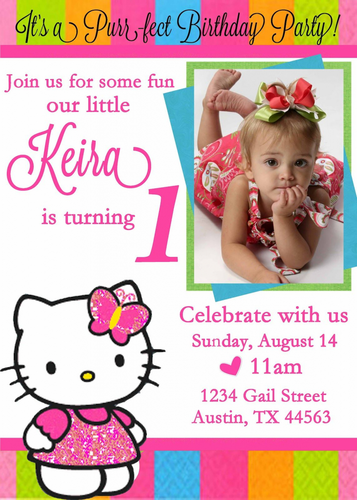 Personalized Hello Kitty Birthday Invitations - | Free Printable | Free Printable Personalized Birthday Invitation Cards