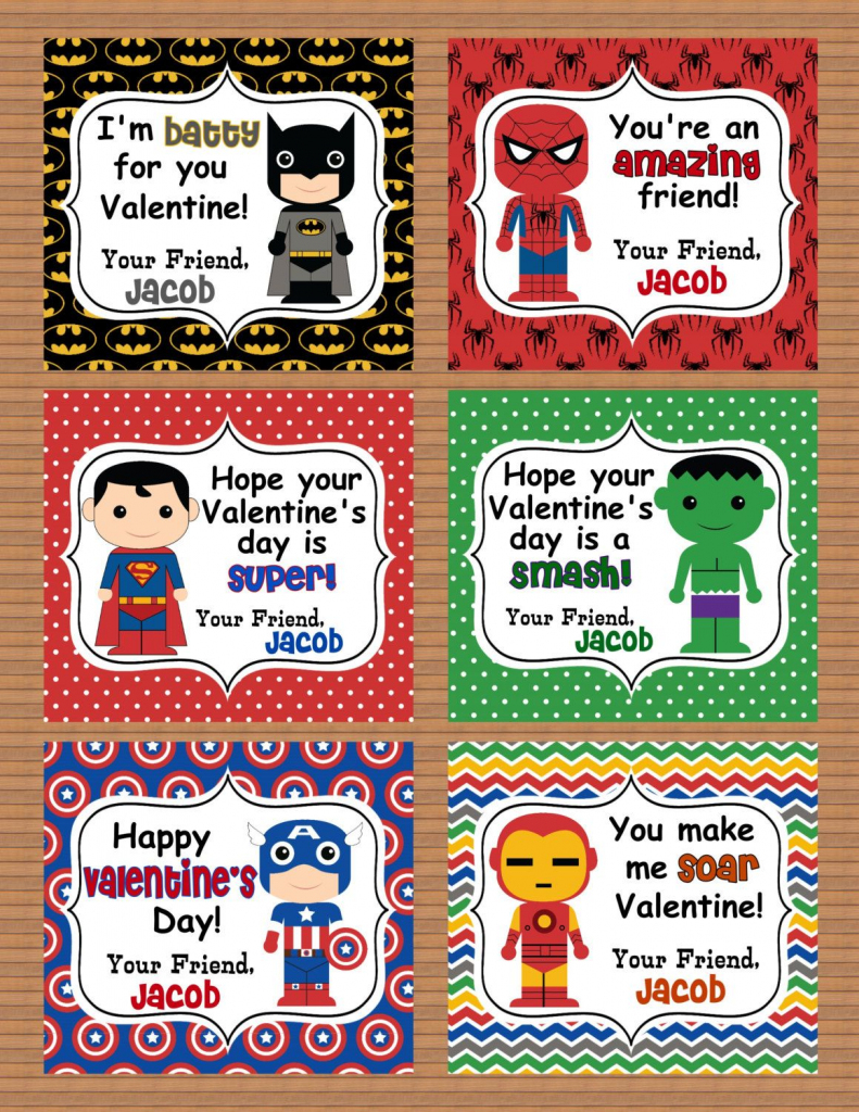 Personalized Superheroes Boys Valentine Class Cards Por Susanefird | Free Printable Superman Valentine Cards