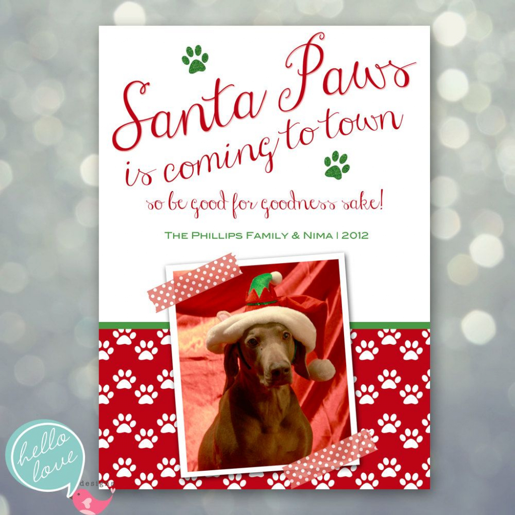 Photo Christmas Card - Santa Paws Dog Pet Holiday. $16.00, Via Etsy | Christmas Cards For Dogs Printable