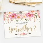 Pinb 🐝 On Godparents | Printable Cards, Christening, Pink, Gold | Will You Be My Godmother Printable Card