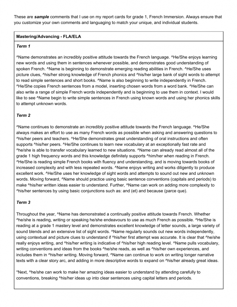 Pinjayne Chan On Report Card Comments | Report Card Comments | Free Printable Report Card Comments