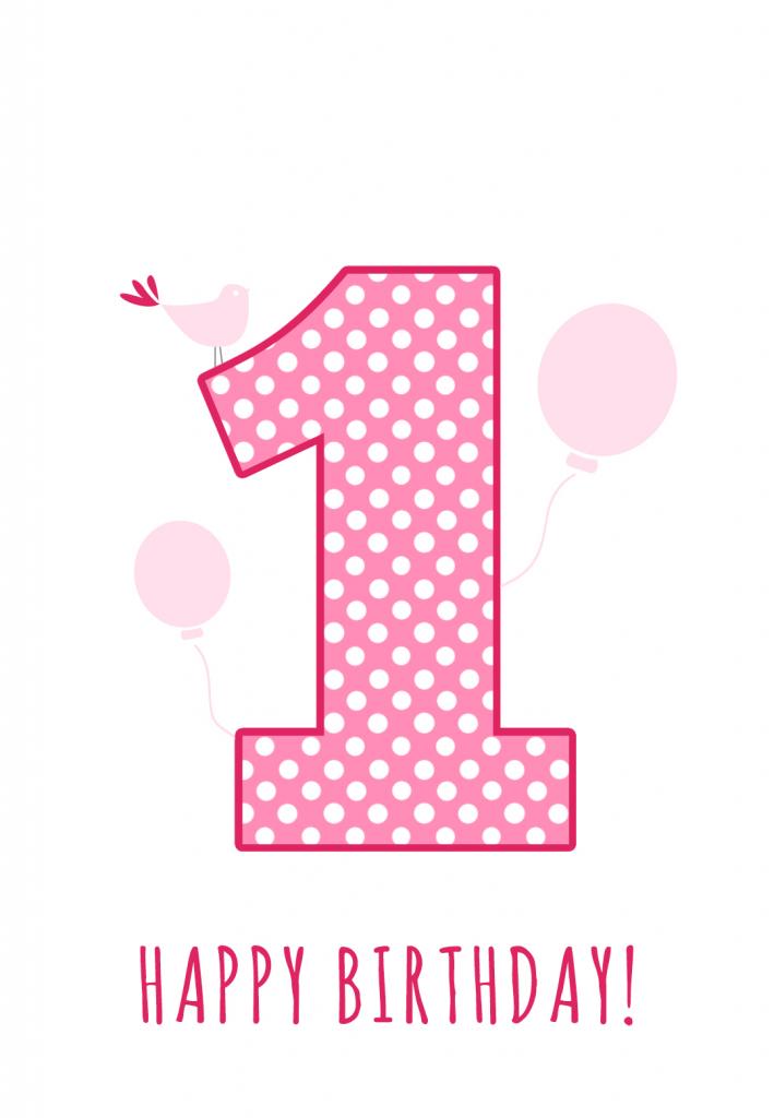 Pink Balloons And A Bird Birthday Card   Greetings Island   Baby Girl Card Printable