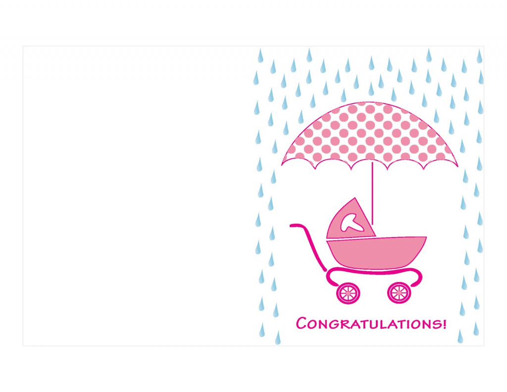 Pink Colored Printable Baby Shower Card Umbrella And Cart Grohe | Free Printable Baby Shower Card