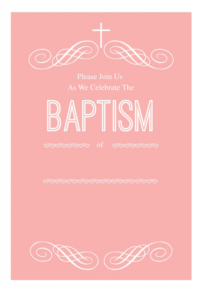 Pink Decorations - Free Printable Baptism & Christening Invitation | Free Printable Baptism Greeting Cards