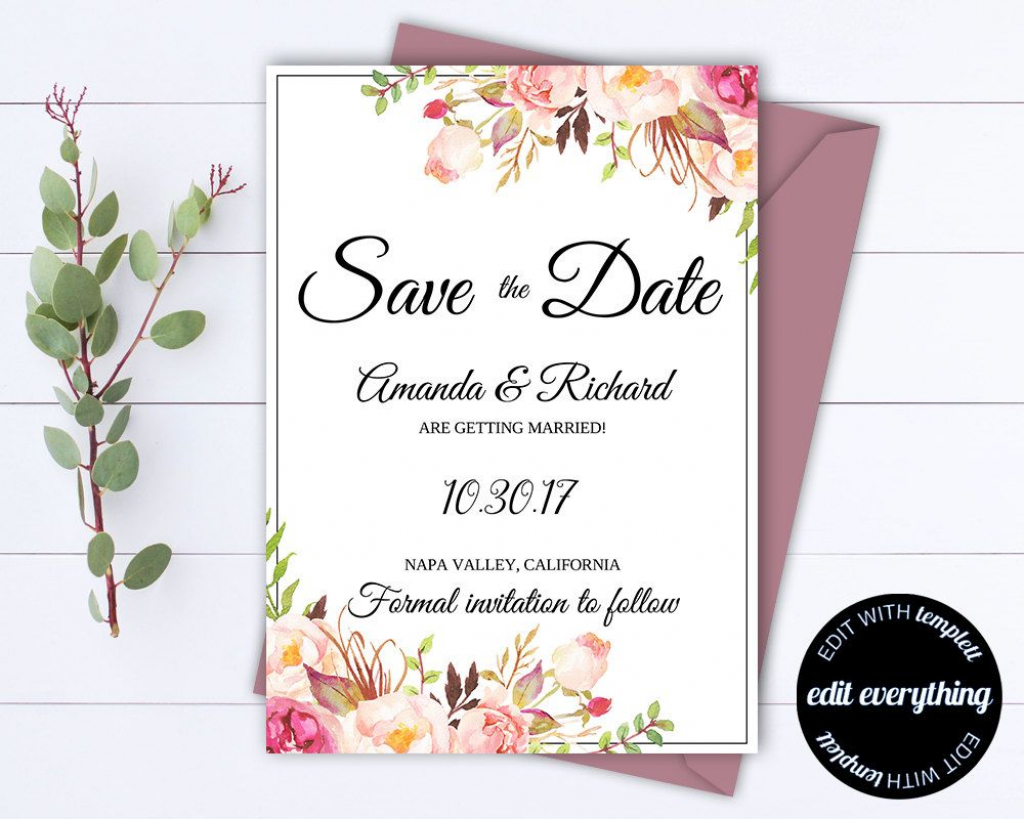 Pink Floral Save The Date Wedding Template Pink Floral Save The Date | Printable Save The Date Wedding Cards