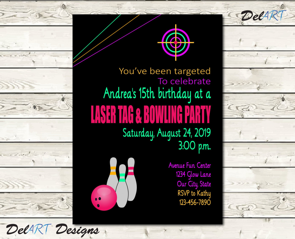 Pink, Laser Tag And / Or Bowling Party, Glow In The Dark Invitation  Birthday Card, Digital File After Customization, Jpg Or Pdf, Printable | Bowling Birthday Cards Printable