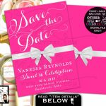 Pink Sweet 16, Save The Date Cards, Breakfast At Theme, White Bow | Printable Quinceanera Birthday Cards