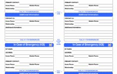 Printable Emergency Card Template