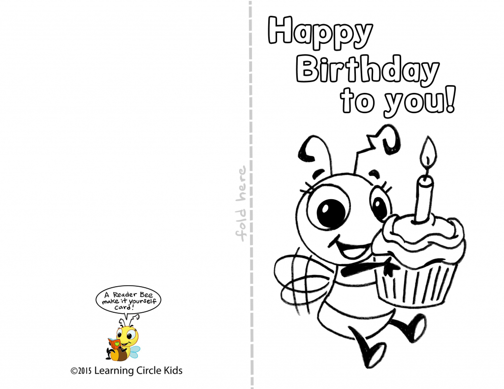 Pinreader Bee On Birthday Celebration - Bee Style | Free | Printable Birthday Cards For Kids