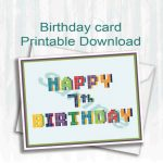 Pixel,birthday Card,happy 7Th Birthday,digital Download | 7Th Birthday Card Printable