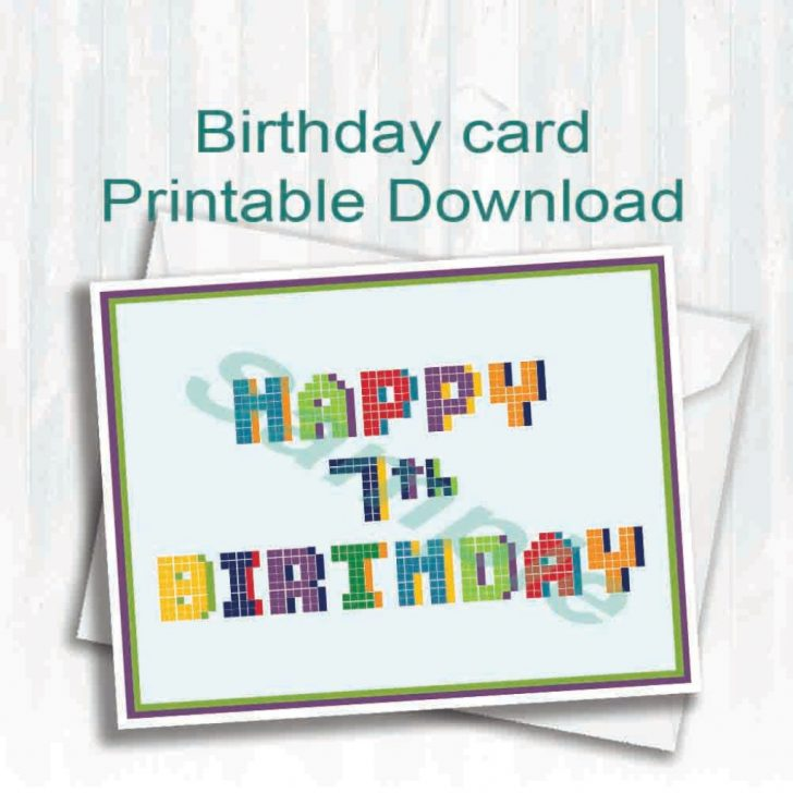 7Th Birthday Card Printable