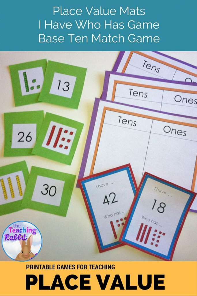 Place Value Games | First Grade Math | Base Ten Picture Cards Printable
