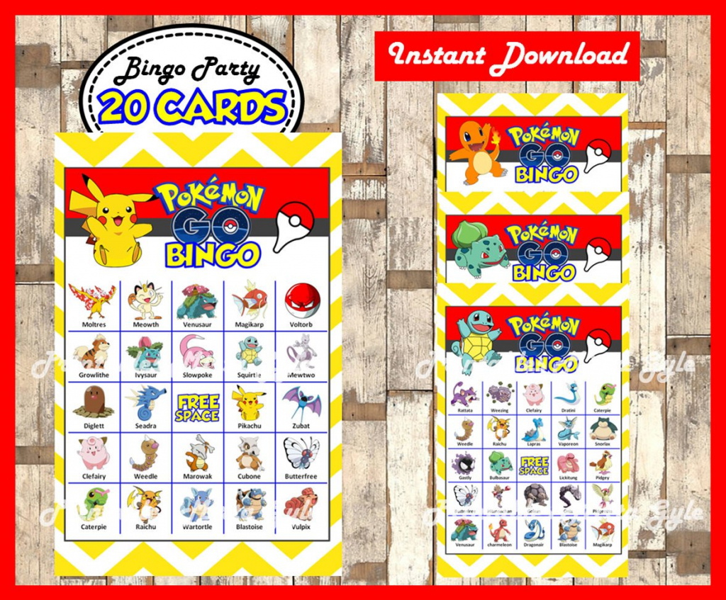 Pokemon Bingo 20 Cards Printable Pokemon Bingo Game Pokemon | Etsy | Pokemon Bingo Cards Printable