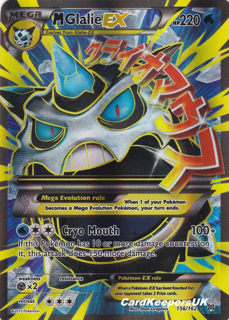 Pokemon Card Mega Glalie Ex 156 162 Full Art - Xy Breakthrough Mint | Printable Pokemon Cards Mega Ex