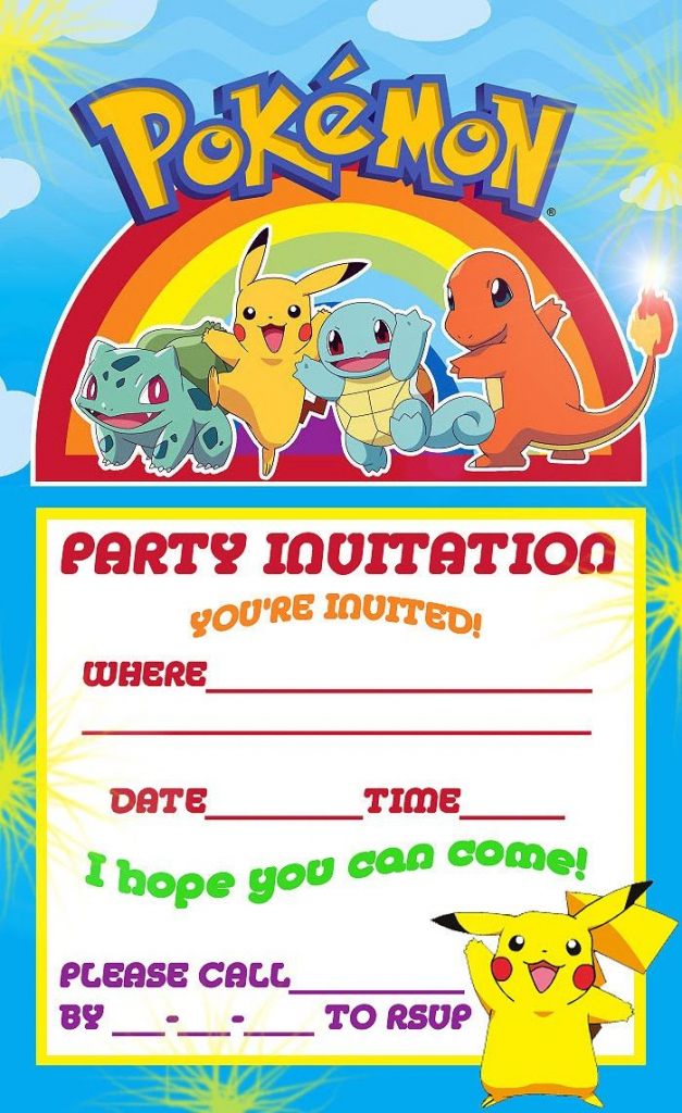 Pokemon Theme For A Kid's Birthday Party | William's Pokeman B-Party | Pokemon Birthday Card Printable