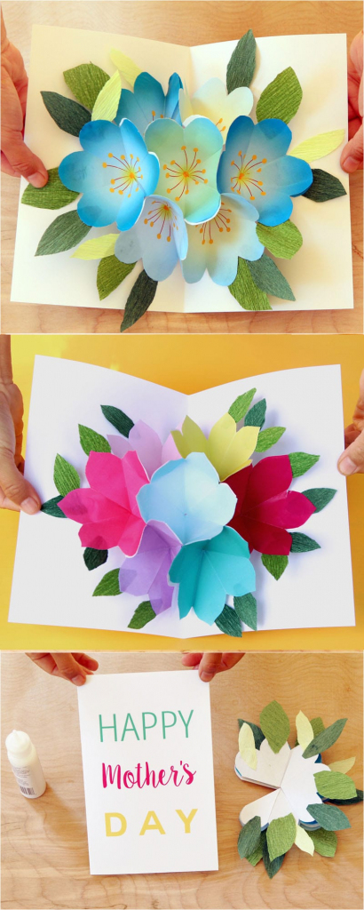 Pop Up Flowers Diy Printable Mother's Day Card - A Piece Of Rainbow | Free Printable Pop Up Birthday Card Templates
