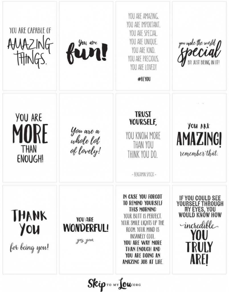 Positive Affirmations {Print And Share With Friends} | Skip To My Lou | Free Printable Positive Affirmation Cards
