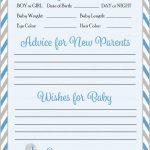 Prediction & Advice Cards   Printable Download   Blue & Gray Baby | Baby Prediction And Advice Cards Free Printable