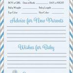 Prediction & Advice Cards   Printable Download   Blue & Gray Baby | Baby Prediction And Advice Cards Free Printable