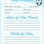 Prediction & Advice Cards   Printable Download   Blue Penguin Winter | Baby Prediction And Advice Cards Free Printable