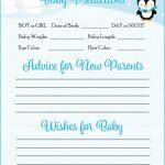 Prediction & Advice Cards   Printable Download   Blue Penguin Winter | Baby Prediction And Advice Cards Free Printable