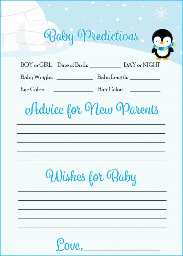 Prediction & Advice Cards - Printable Download - Blue Penguin Winter | Baby Prediction And Advice Cards Free Printable