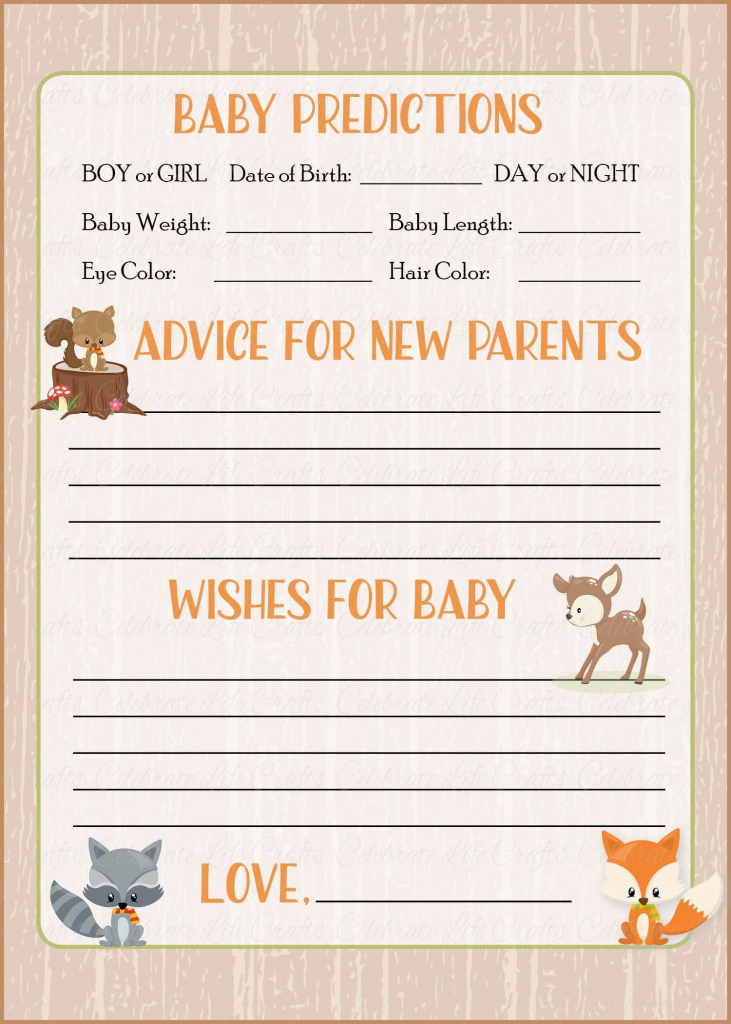 Prediction & Advice Cards - Printable Download - Forest Animals | Baby Shower Printable Prediction Cards