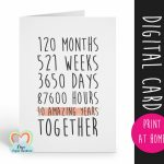 Printable 10Th Anniversary Card, 10Th Wedding Anniversary Card, 10 | Printable Wedding Anniversary Cards