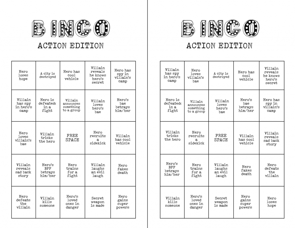 Printable Action Movie Night Bingo Card Game 8 Viewing Party | Etsy | Printable Bingo Cards 2 Per Page