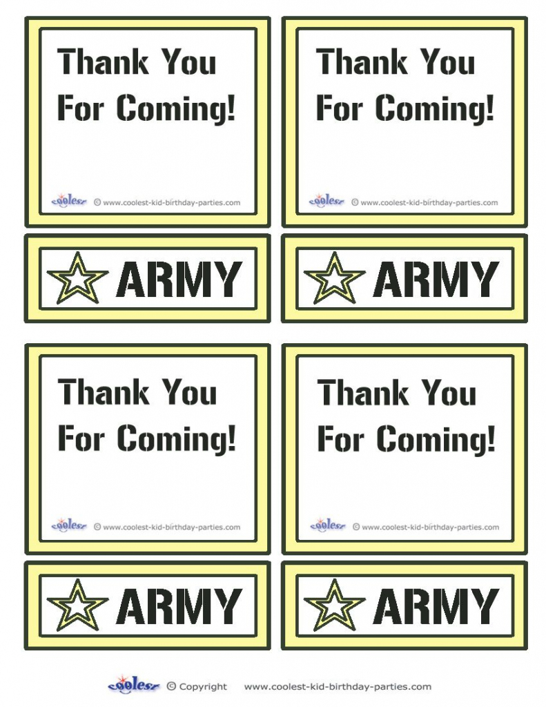 Printable Army Star Thank You Cards Coolest Free Printables | Boys | Army Birthday Cards Printable