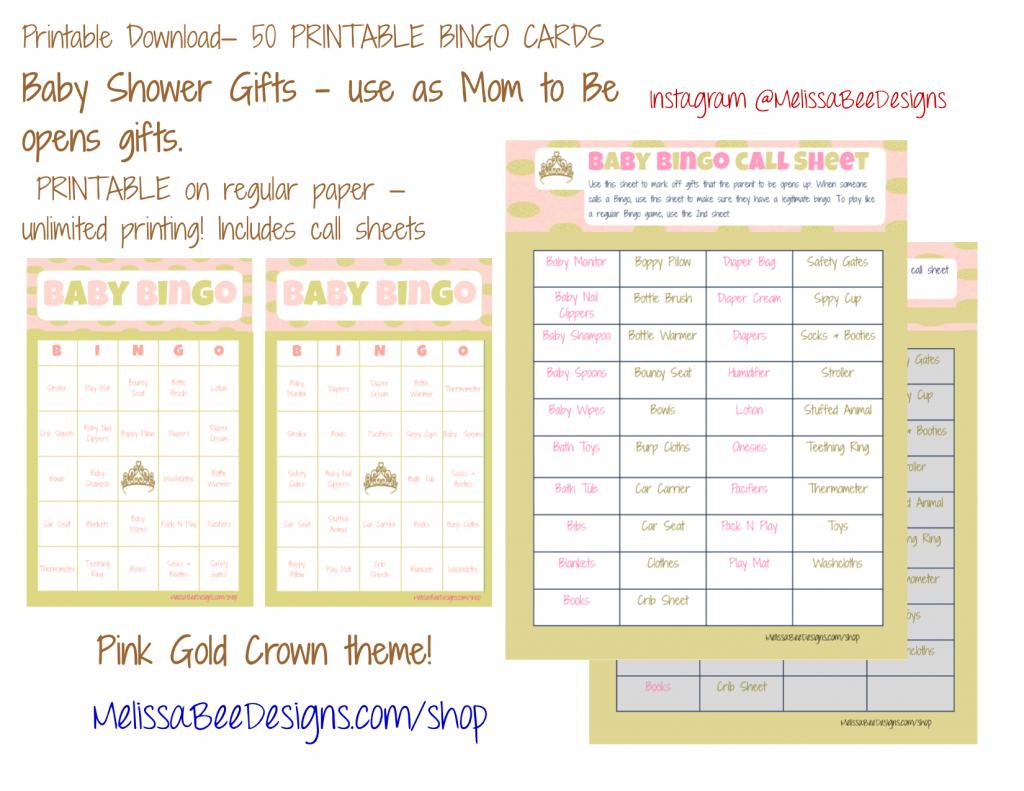 Printable Baby Shower Bingo (Girl) Game (Gold/pink Crown Theme) 50 | Cowboy Bingo Printable Cards