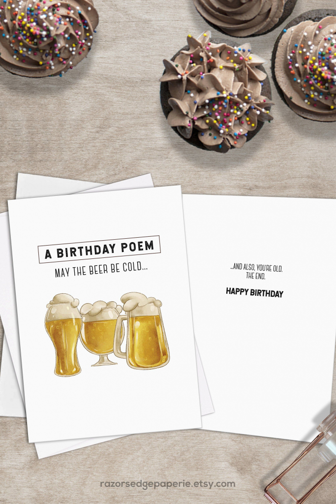 Printable Beer Birthday Card For Him Instant Download // Cold Beer   Free Printable Funny Birthday Cards