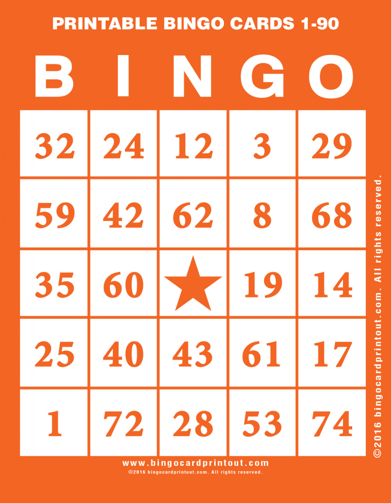 Printable Bingo Cards 1-90 - Bingocardprintout | Free Printable Bingo Cards 1 75
