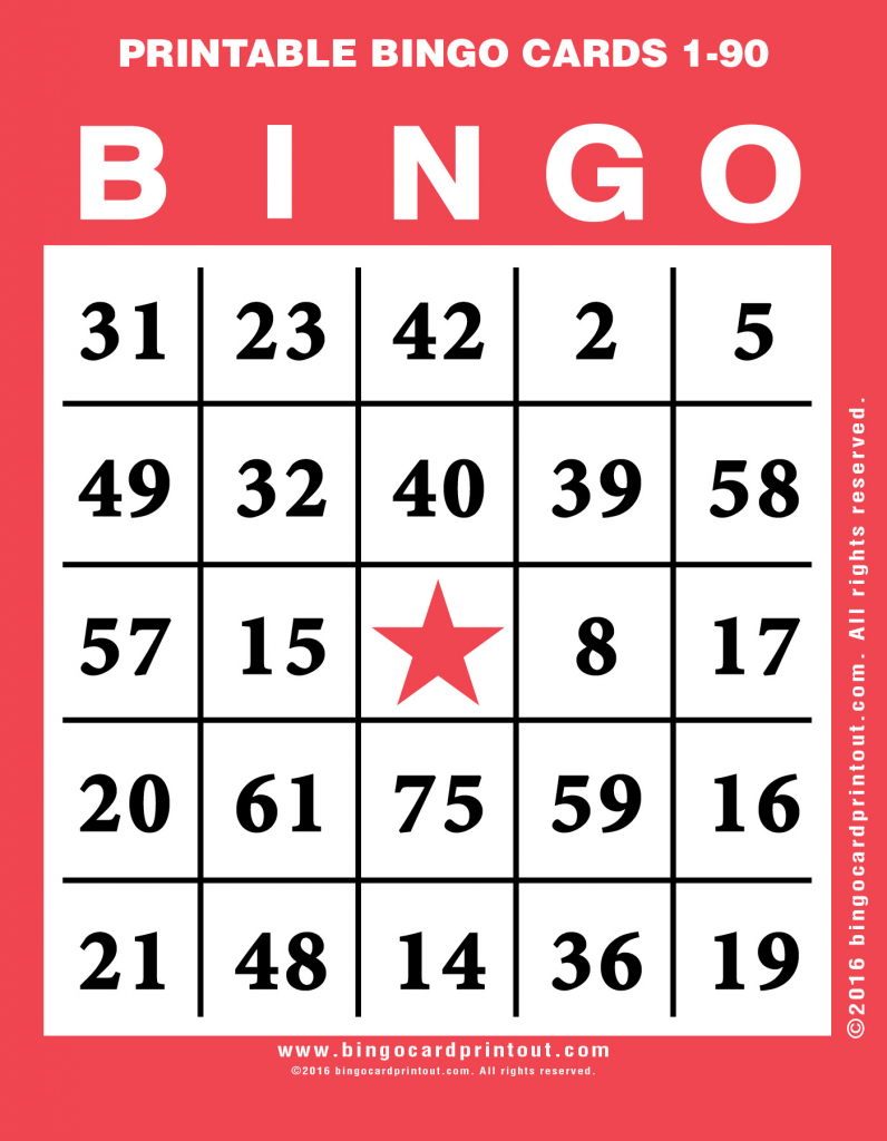 Printable Bingo Cards 1-90 - Bingocardprintout | Printable Number Bingo Cards 1 75