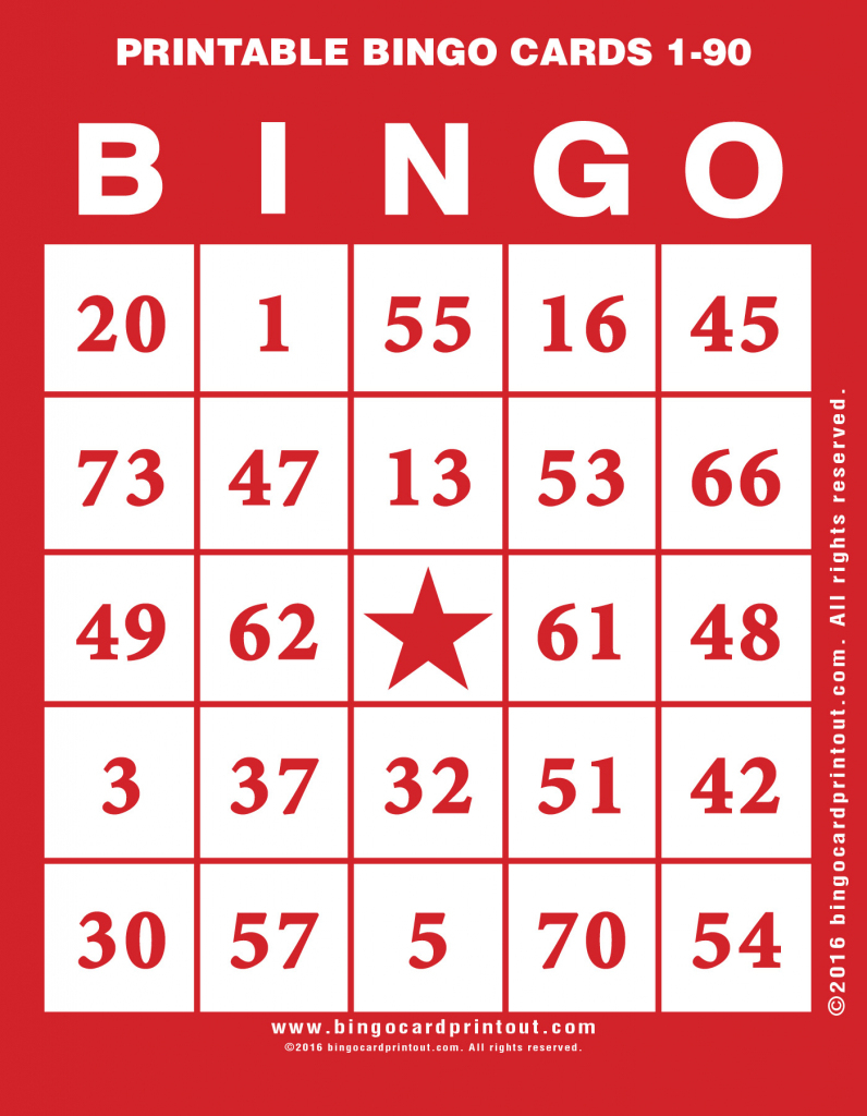 Printable Bingo Cards 1-90 - Bingocardprintout | Printable Number Bingo Cards