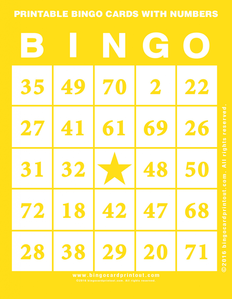 Printable Bingo Cards With Numbers - Bingocardprintout | Printable Number Bingo Cards