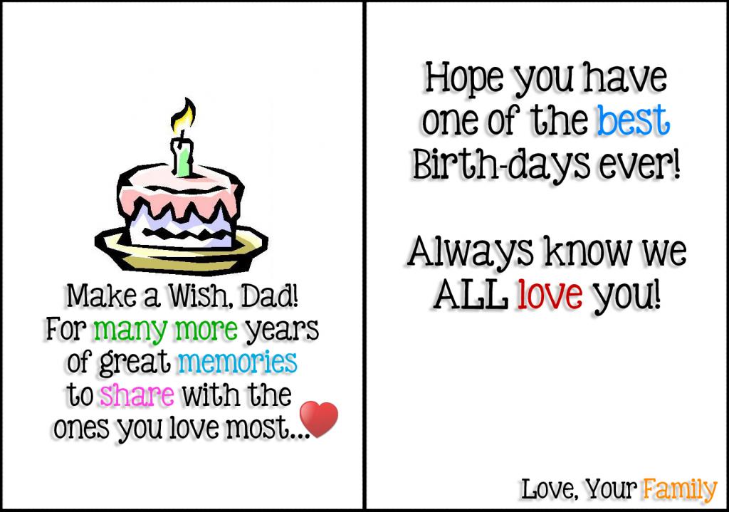 Printable Birthday Card For Dad - Kleo.bergdorfbib.co   Printable Father Birthday Cards