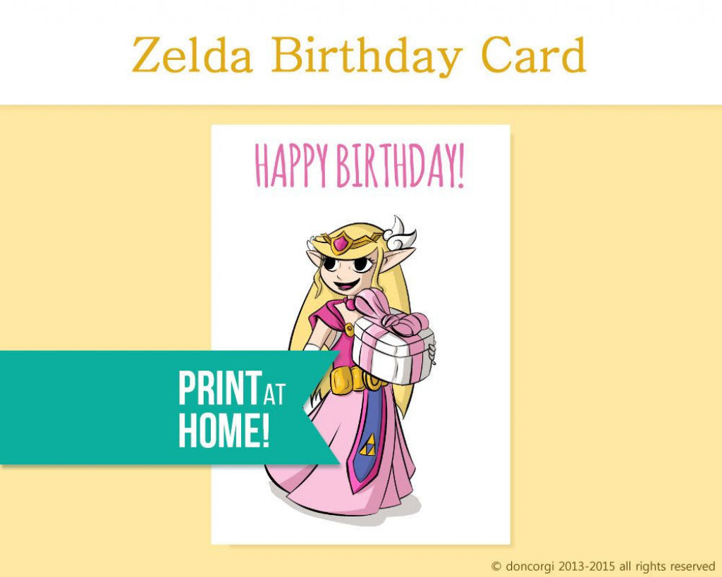 Printable Birthday Card Legend Of Zelda Gamer Etsy - Gamer Birthday | Hamilton Birthday Card Printable