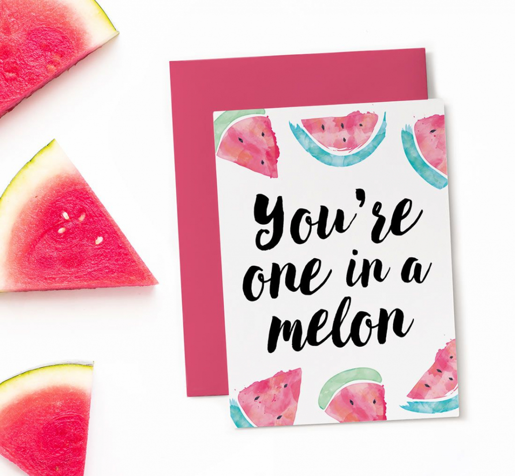 Printable Birthday Card - One In A Melon | Birthday Themes & Ideas | 14Th Birthday Cards Printable