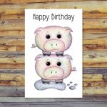 Printable Birthday Card Pig Card Blank Greeting Cards | Etsy | Pig Birthday Cards Printable