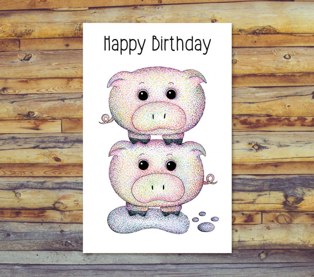 Printable Birthday Card Pig Card Blank Greeting Cards | Etsy | Pig Birthday Cards Printable