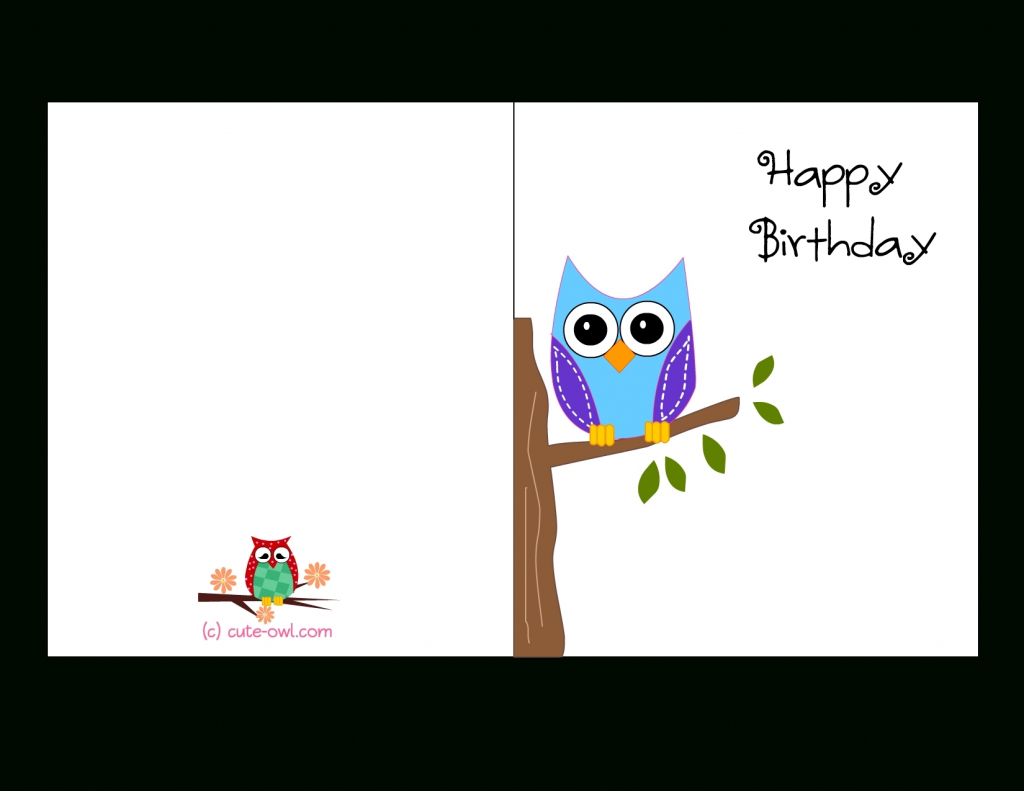 Printable Birthday Cards Foldable Owl | Chart And Printable World | Printable Birthday Cards Foldable
