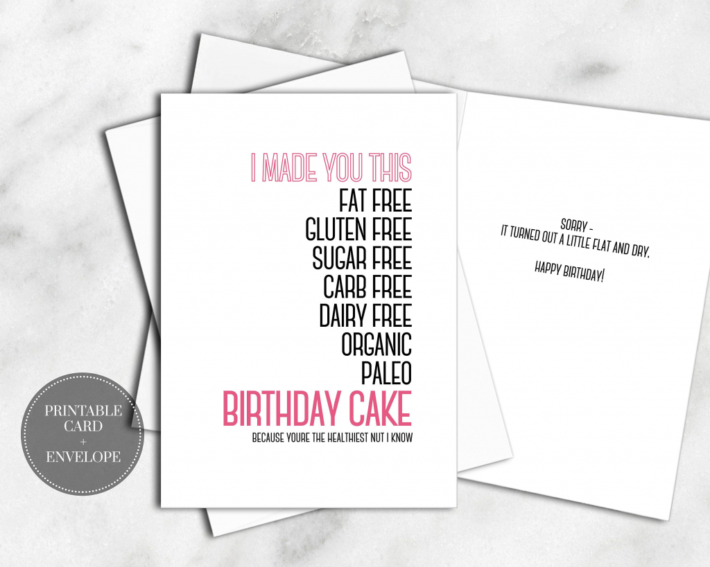 Printable Birthday Greeting Card Instant Download Envelope Healthy | Printable Birthday Cards For Sister