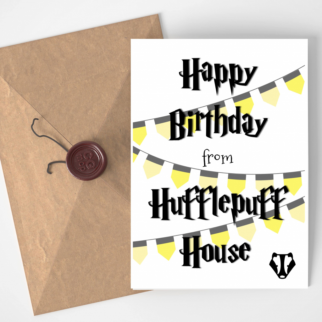Printable Blank Wizard Birthday Card Badger Black And Yellow | Harry | Harry Potter Birthday Card Printable